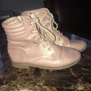 Pink sparkly leather pair of boots,size 13 in kid.